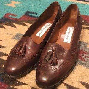 ♀VTG ♀EtienneAigner Leather Wingtip Tassel Loafers